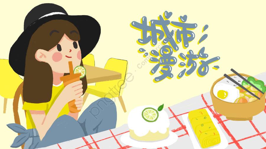 City Food Milk Tea Eating Goods, Life, City, Food Guide llustration image
