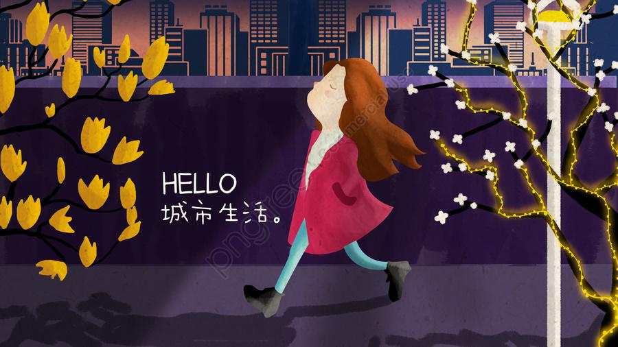 City Girl Street Plant, Yellow Flower, Street Light, Night llustration image
