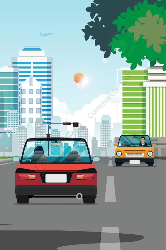शहर का परिदृश्य दूर की इमारत है, कार, सड़क की सतह, लेन llustration image