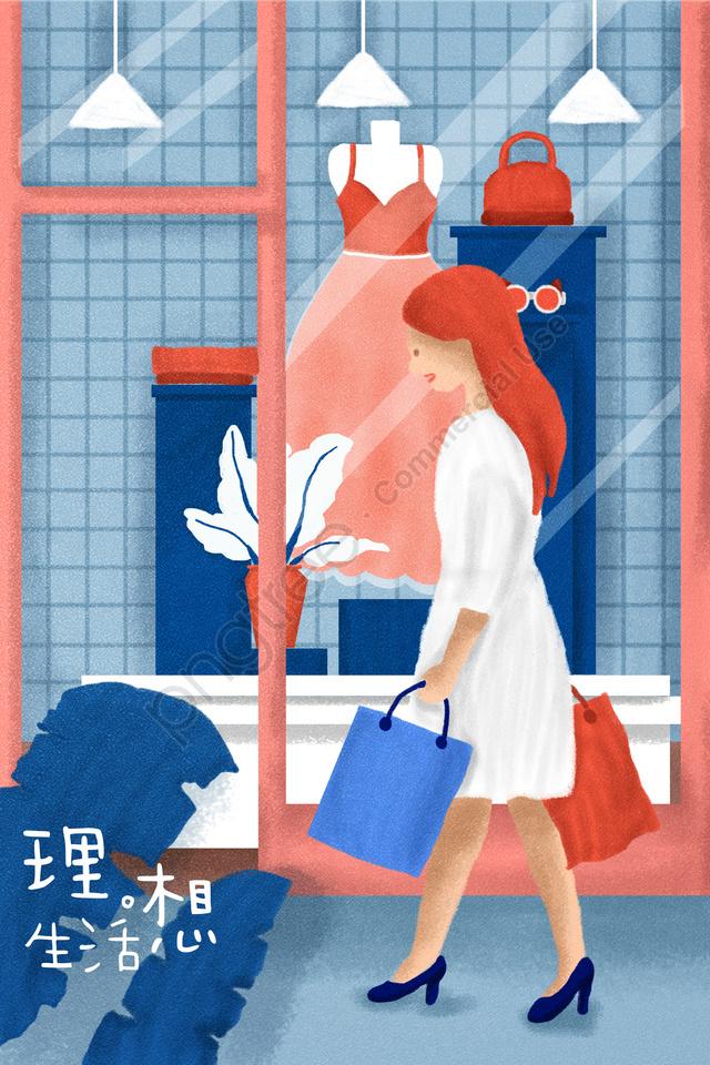 도시 생활 이상 쇼핑, 창, 옷, 포켓 llustration image