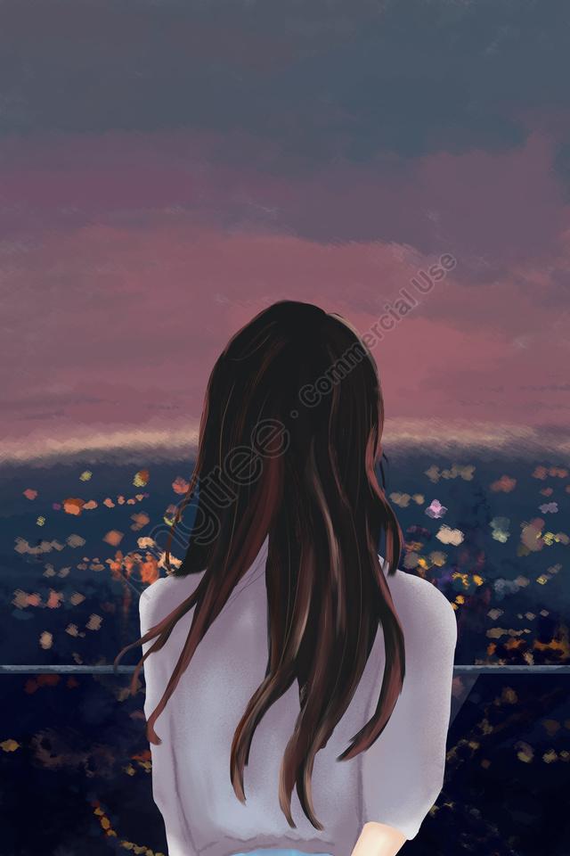 市夜景展望台の女の子, 美しい, 文学, シティ llustration image