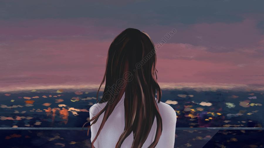 市夜景展望台の女の子, 美しい, 文学, バックビュー llustration image