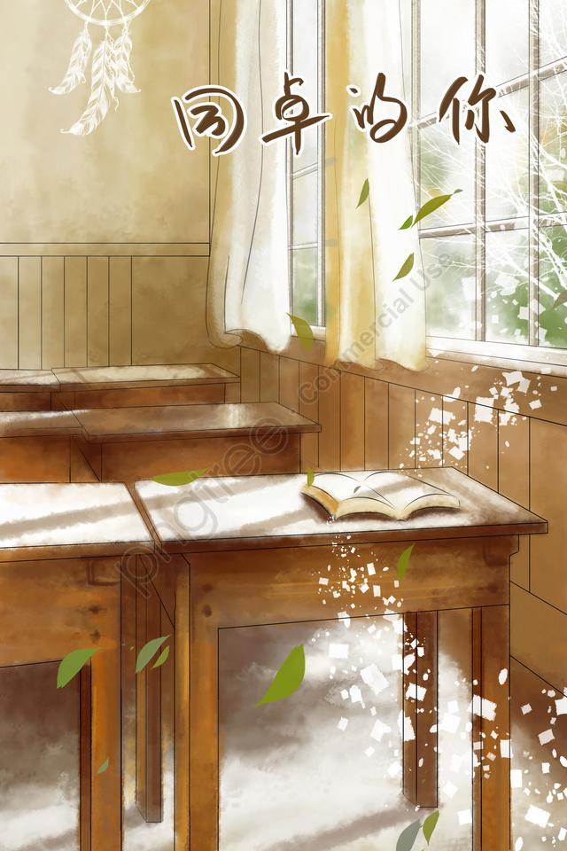 Lớp Học Ngoài Cửa Sổ, Bàn Giấy., Bằng Tay, Văn Chương llustration image