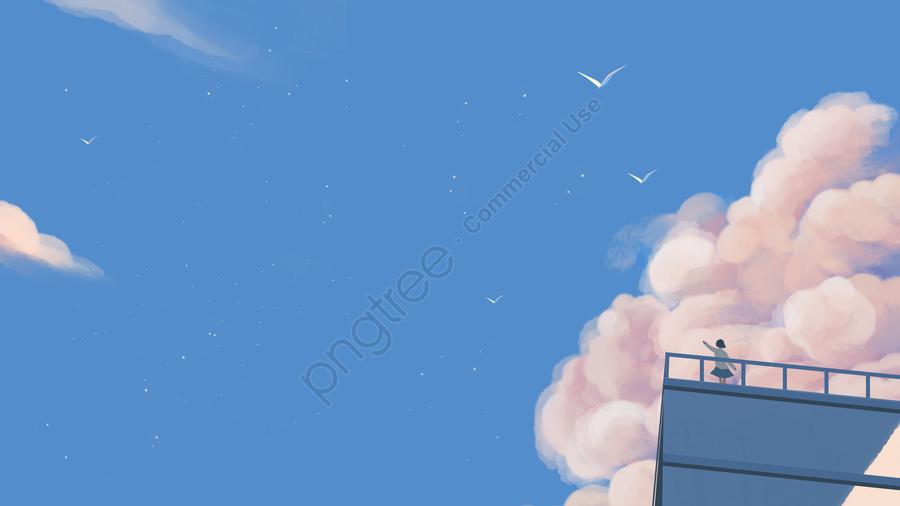 Langit Awan Awan Segar, Gadis, Burung, Tangan Dicat llustration image