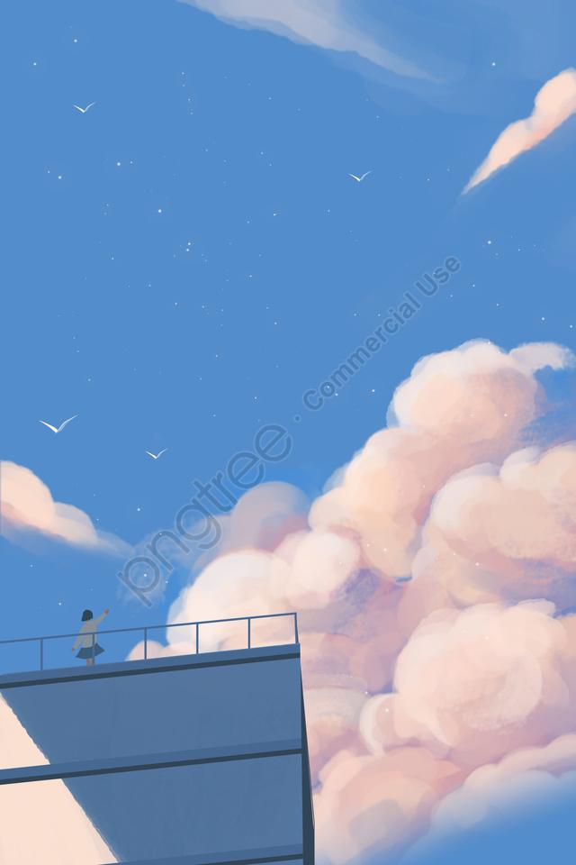 구름 구름 하늘 신선한, 여자, 새, 자유형 llustration image