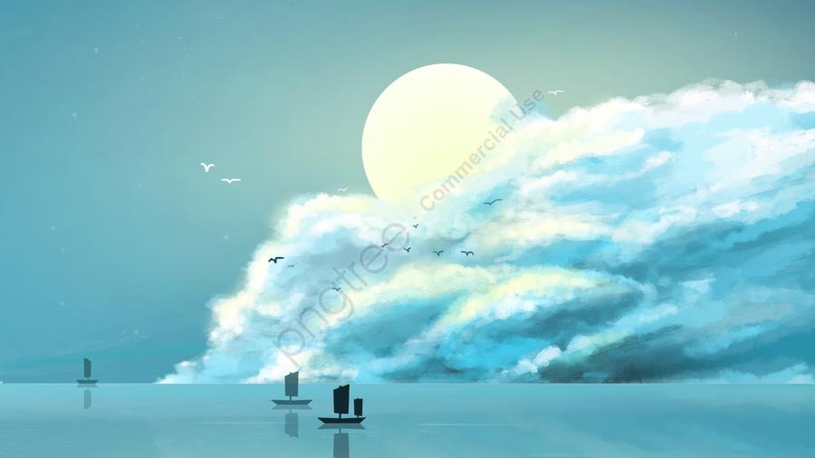 구름의 일 별이 빛나는 하늘, 밤 하늘, 신선한, 구름 llustration image