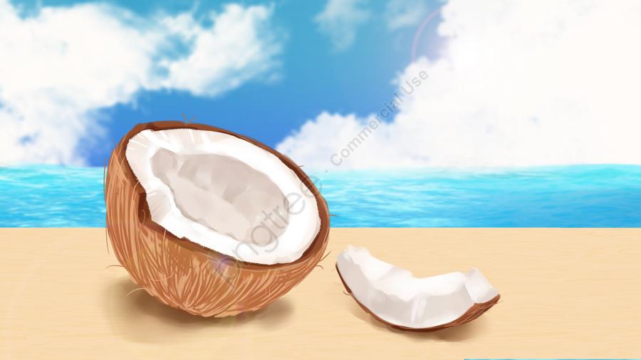 coconut fruit fresh fruits coconut, Sea, Cloud, Coconut llustration image