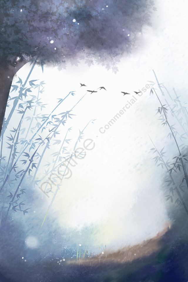 ठंडे ओस के जंगल बांस के जंगल उड़ते हुए पक्षी, चित्रण, पक्षी, ठंड ओस llustration image