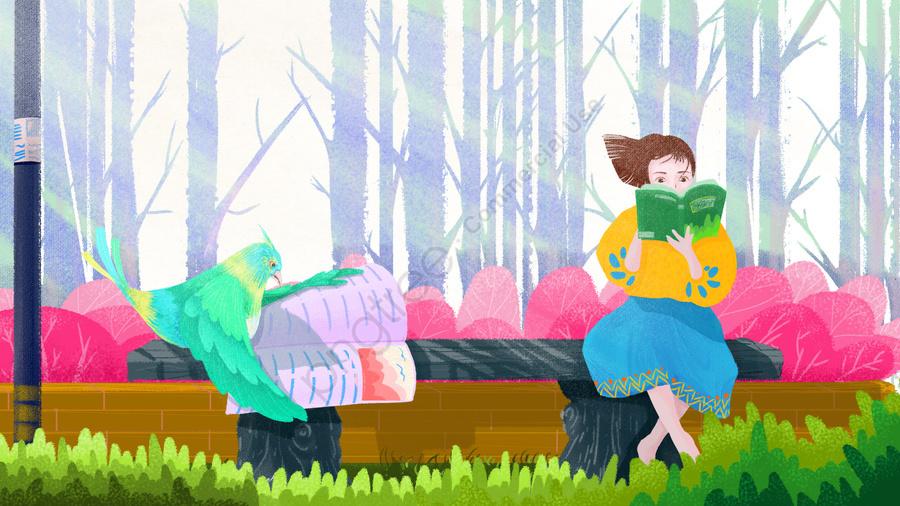 रंगीन हाथ खींचा पढ़ने दिन किशोर लड़की छोटी चिड़िया, पार्क पत्थर की बेंच, फूल बिस्तर, वन llustration image