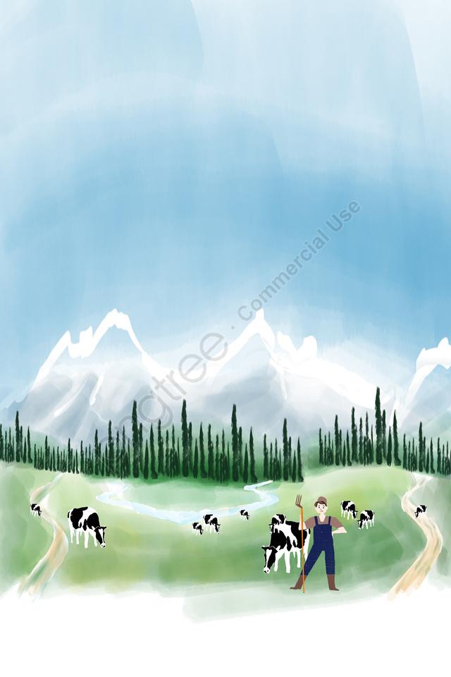 देश खेत Xinjiang Tianshan गाय पोस्टर पृष्ठभूमि ग्रामीण चराई Xinjiang, Tianshan, गाय, पोस्टर llustration image