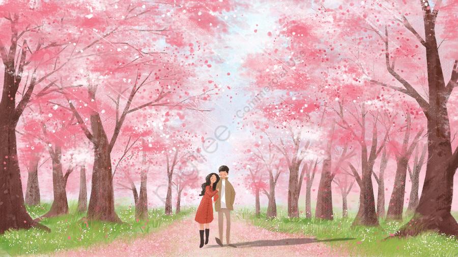 カップル治療ピンクの桜, ロマンチック, 景観, ヒーリング llustration image