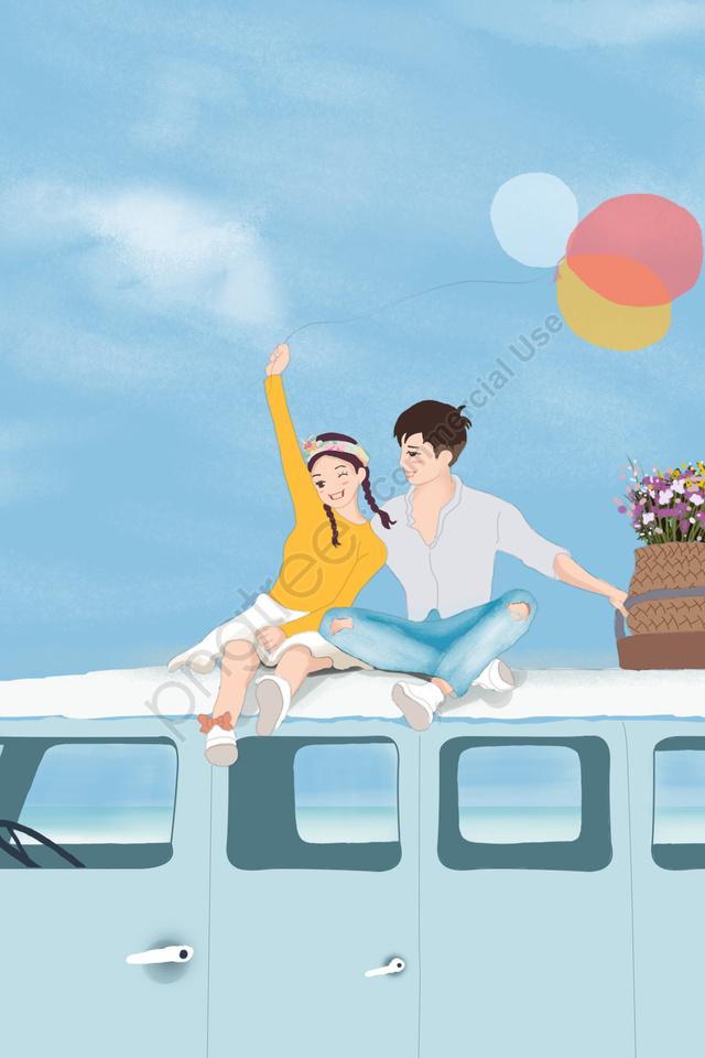 युगल समुद्र तटीय नियुक्ति रोमांटिक, यात्रा, प्रेमी, नीले आकाश और सफेद बादलों llustration image