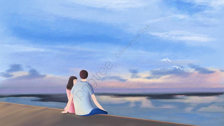 Pasangan Pantai Langit Laut Biru, Pasangan, Cinta, Dekat llustration image