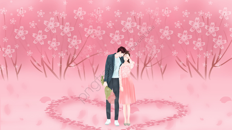 couple tanabata cherry blossoms romantic, Happy, Love, Hand Drawn Illustration llustration image
