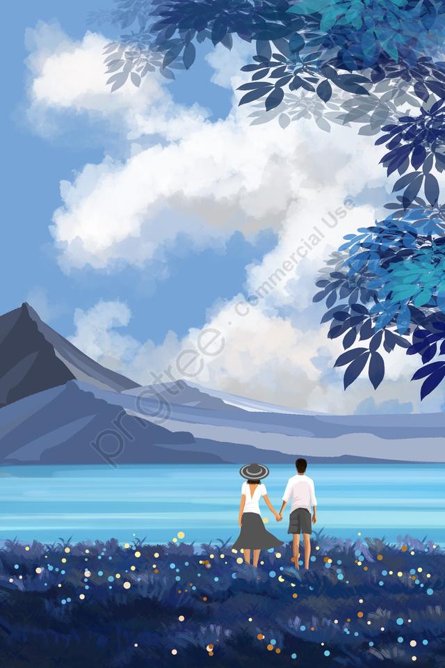 途中湖の表面にカップル観光, スノーマウンテン, 青空, 白い雲 llustration image