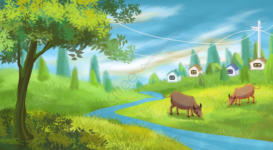 牛農村草原草原, 河水, 樹, 房子 llustration image