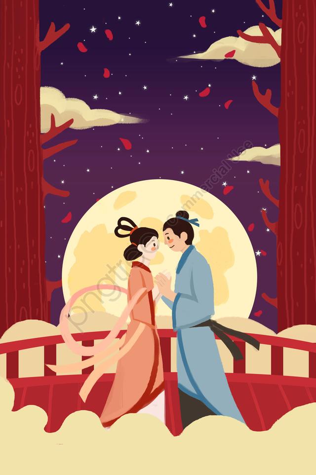 臆病者ウィーバーブリッジ愛, ムーン, 丸い月, カップル llustration image