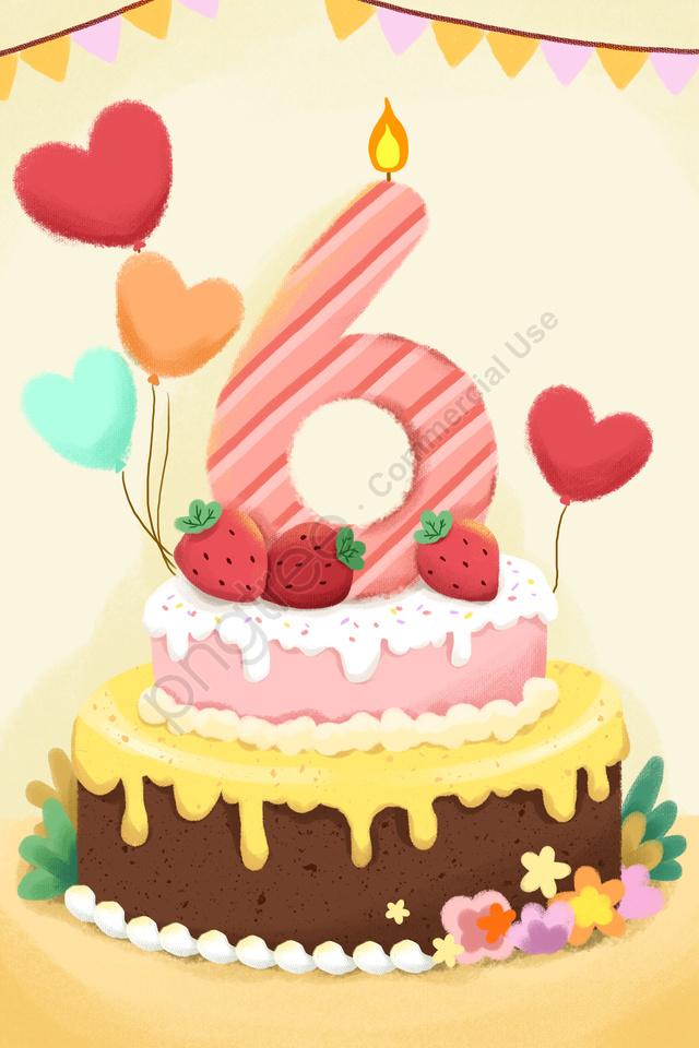 Creative Number Cake Candle Balloon, Balloon, Yellow, Cartoon llustration image