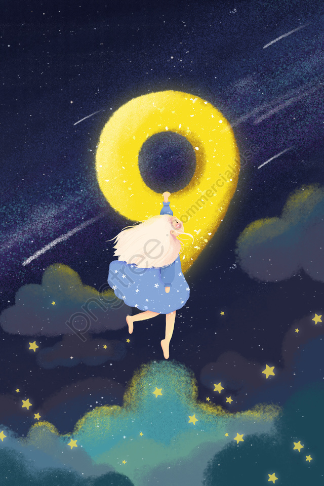 रचनात्मक संख्या किशोर लड़की तारों से आकाश नीला, नीले, कार्टून, चित्रण llustration image