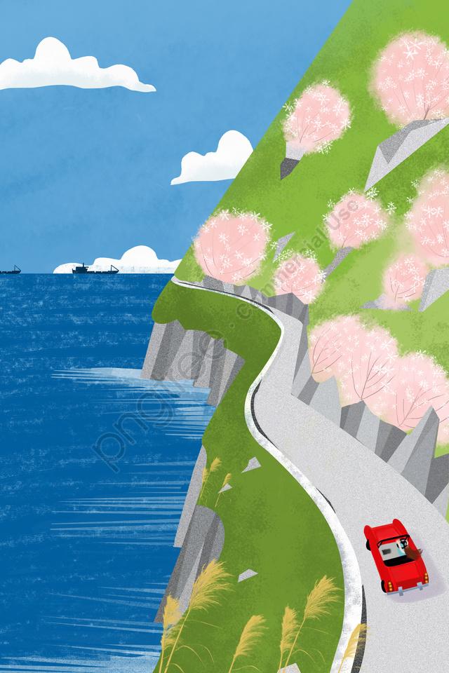 春の春のお出かけの始まりを治す, ディスタンス, 景観, キュア llustration image