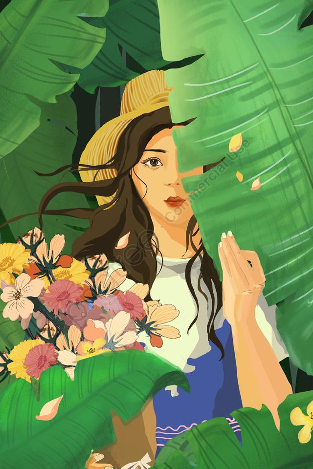 手描きのイラスト女の子を治療します。, 新鮮, 美しい, フラワーズ llustration image
