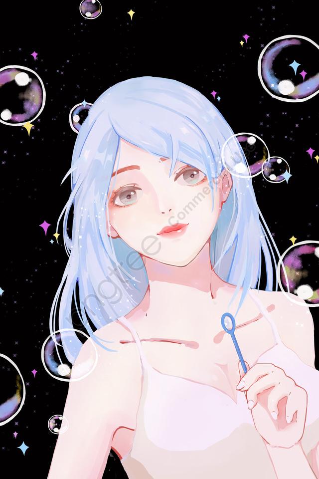 治療癒し吹く泡女の子, バブル, 色, 美しい llustration image