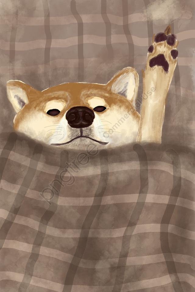 Cão Bonito Animal De Estimação Adorável, Amarelo, Brown, Pintado A Mão llustration image