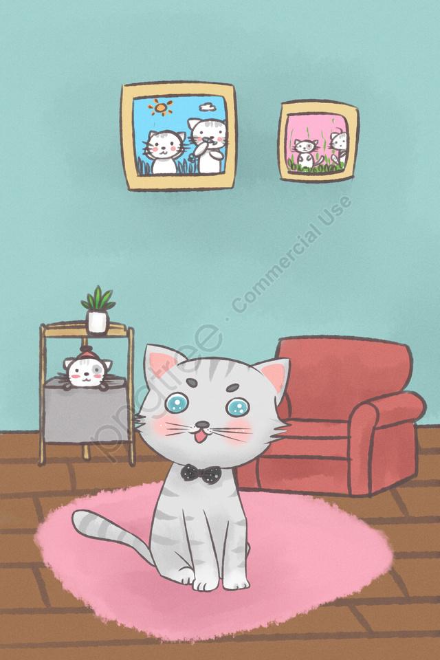 Cute Pet Animal Lovely Cat, Meng, Cartoon, Hand llustration image