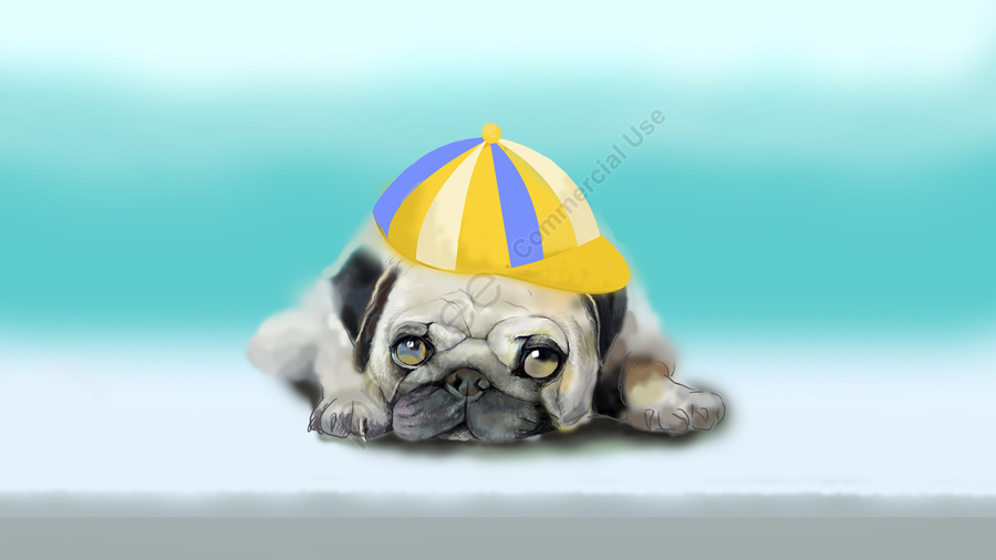 cute pet lovely starling puppy, Hand Painted, Realistic, Cute Pet llustration image