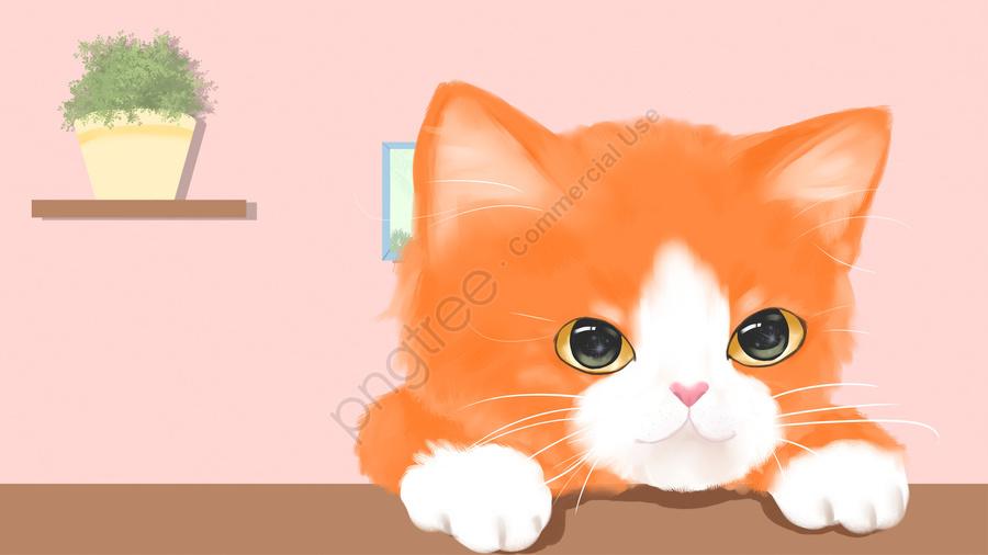 cute pet pet orange cat cat, Animal, Cute, Hand Painted llustration image