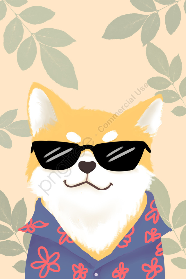 Animal De Estimação Bonito Shiba Inu Cão, óculos De Sol, Pet, Cute Pet llustration image