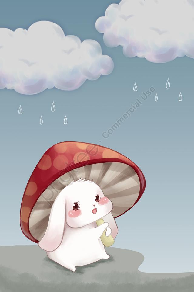 प्यारा खरगोश मशरूम बादल दिन हाथ चित्रण खींचा, प्यारा खरगोश, मशरूम, बादल दिन llustration image
