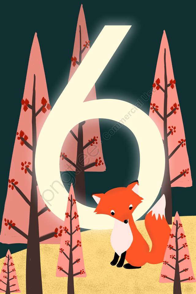 digital 6 countdown hand painted, Illustration, Digital, 6 llustration image