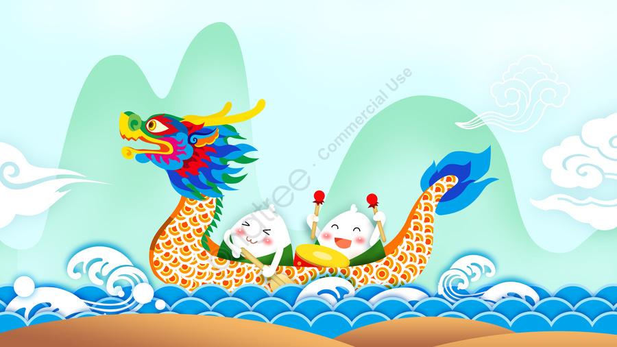ドラゴンボートフェスティバルドラゴンボートゾンジーブルー, グリーン, 伝統的, リトル llustration image