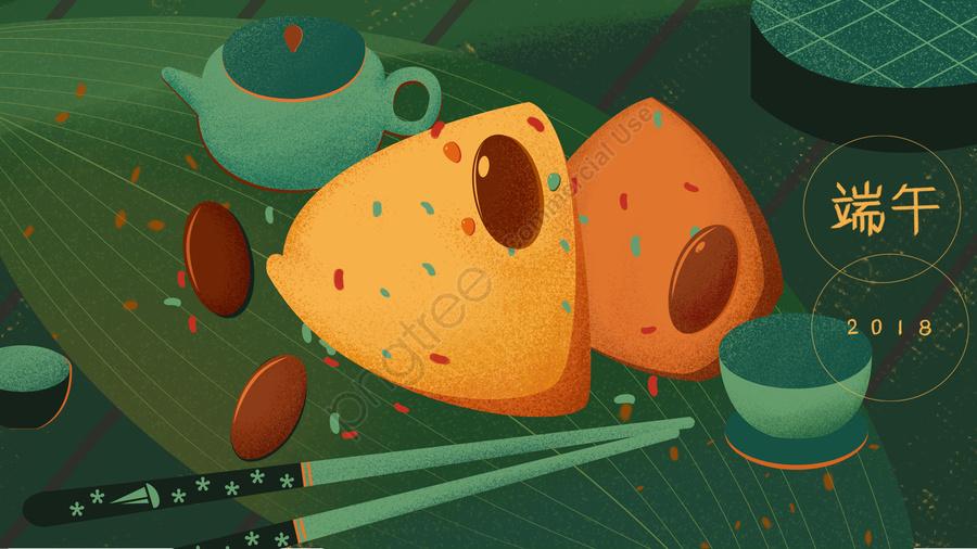 端午節粽子棗, 枇杷葉, 茶壺, 蒸汽機 llustration image