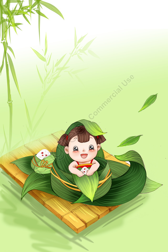 Dragon Boat Festival Zongzi Child Green, Hand Painted, Bamboo Forest, Fresh llustration image