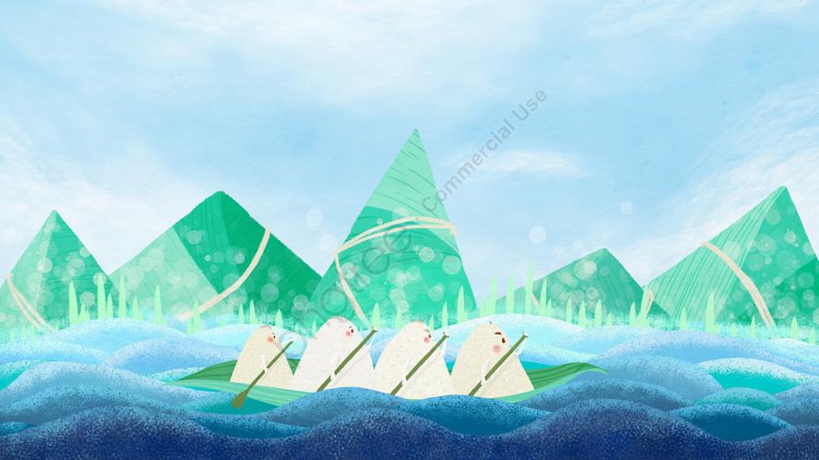 龍舟粽子龍舟中國節日傳統節日, 手繪, 端午節, 水波 llustration image