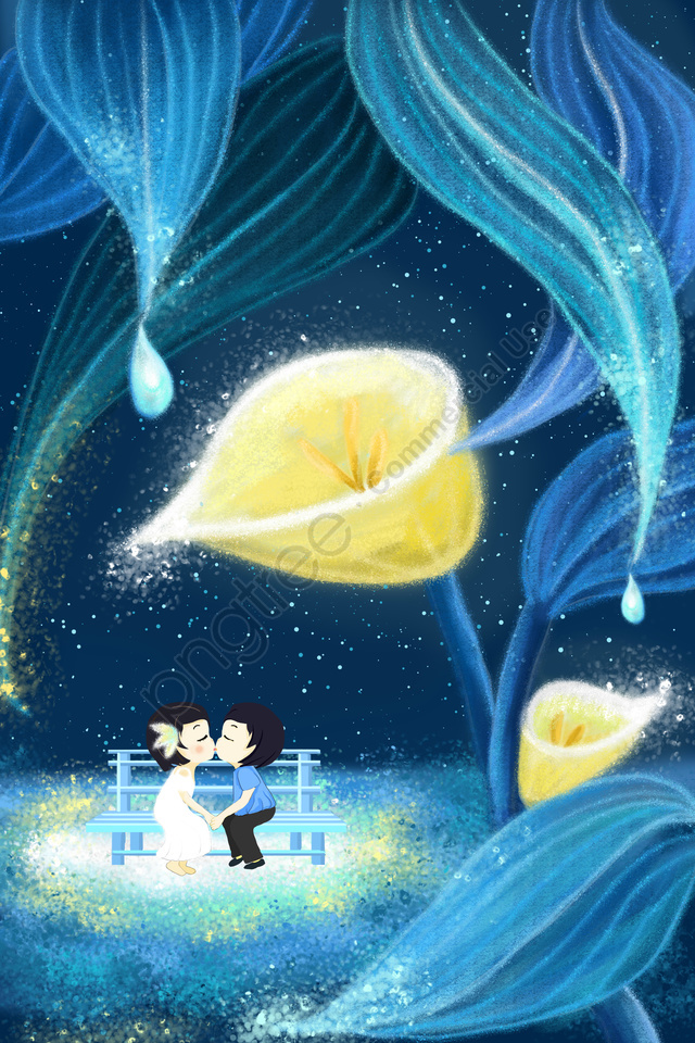dream romantic couple hand painted, Illustration, Tanabata, Valentines Day llustration image
