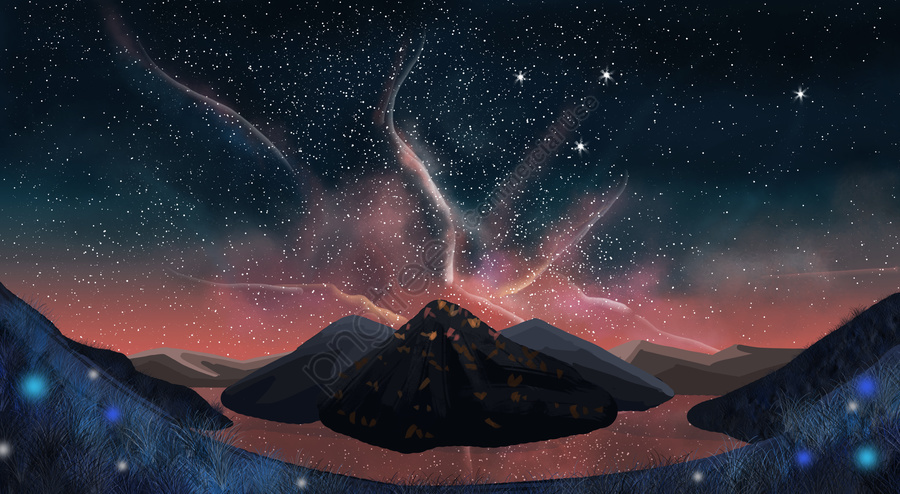 dream romantic starry sky moonlight, Night View, Fantasy Background, Stone llustration image