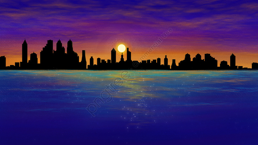 Senja Kota Laut Tangan Ilustrasi, Bangunan, Lautan, Langit llustration image