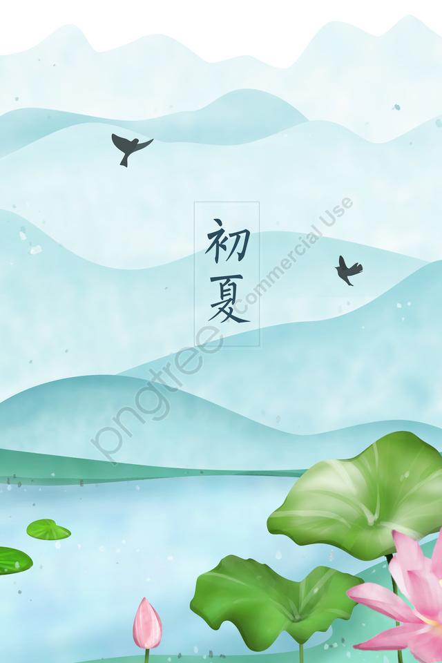 जल्दी गर्मियों में कमल का पत्ता तालाब, छोटे पक्षी, दूर पहाड़, शांत llustration image
