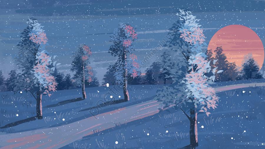 初冬日没風景風景の背景, 材料, イラスト, 手塗り llustration image