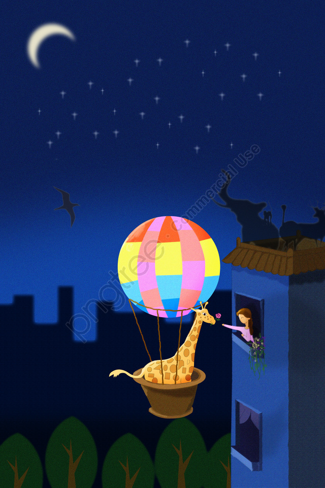 earth hour turn off the light the earth day african animals, Hot Air Balloon, Giraffe, H5 Background llustration image