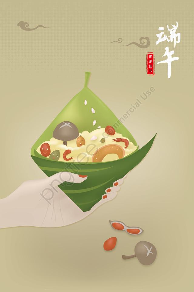 eight treasures cartoon scorpion dragon boat festival illustration womans hand, 八寶粽, 卡通粽子, 端午節插畫 llustration image
