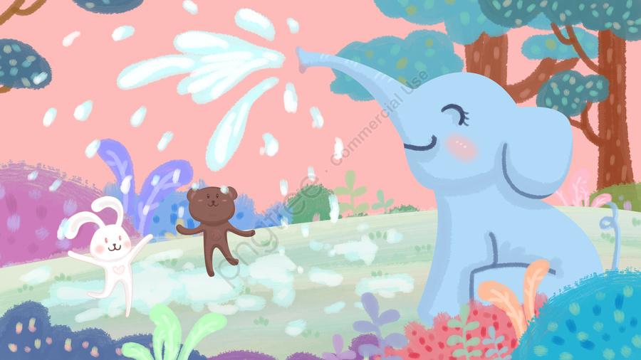 象の水スプレーうさぎ熊, 大きい木, 草原, 手塗り llustration image