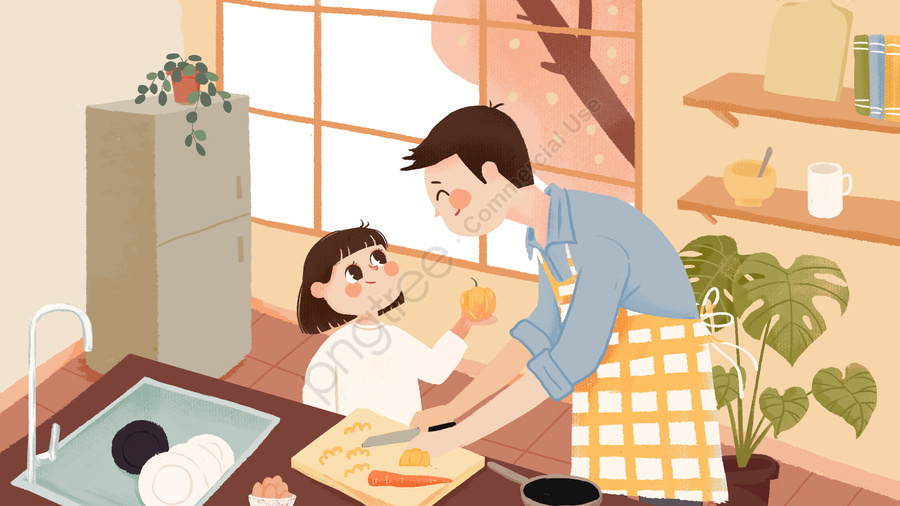 Emotional Expression Cooking Kitchen Warm Interior, Father, Daughter, Emotional Expression llustration image