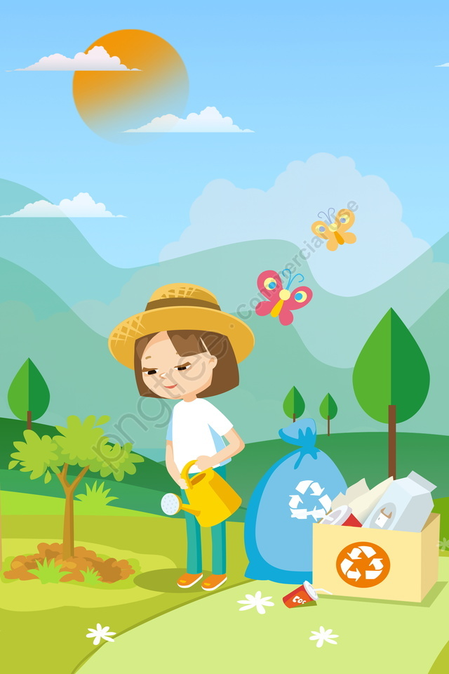 environmental protection care for the environment green health, Protect Environment, Planting Trees, Picking Up Trash llustration image