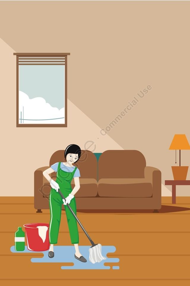 Bảo Vệ Môi Trường Công Nhân Sạch Sẽ, Cây Lau Nhà, Bảo Vệ Môi Trường, Làm Sạch llustration image