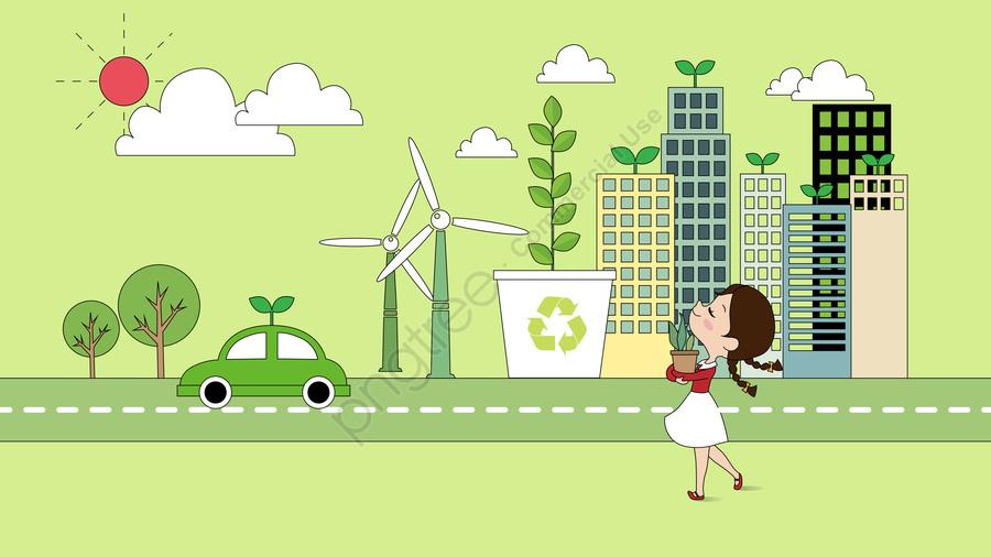 Bảo Vệ Môi Trường Sức Khỏe Xanh Thấp Carbon, Cuộc Sống, Thành Phố., Cô Gái llustration image