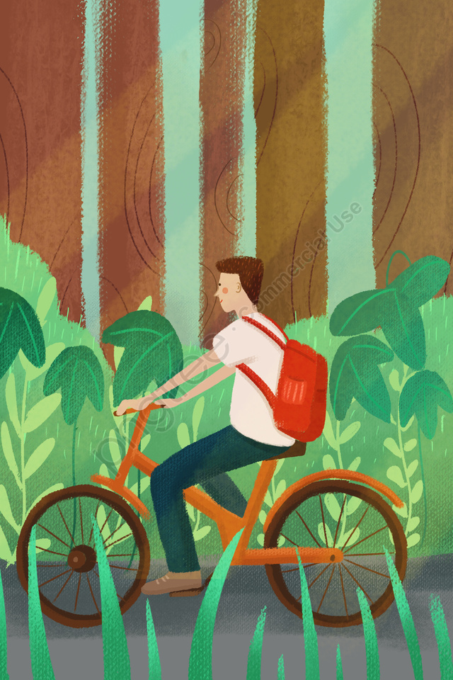environmental protection travel hand drawn illustration shared bicycle ride a bike, Forest, Grass, Leaf llustration image